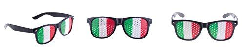 Brille Italien grün/weiß/rot mit Löchern