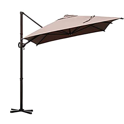 Abba Patio 9 x 7ft Offset Patio Umbrella Rectangular Cantilever Outdoor Hanging Umbrella with Crank & Easy Tilt & Cross Base for Garden, Deck, Backyard, Pool, Cocoa