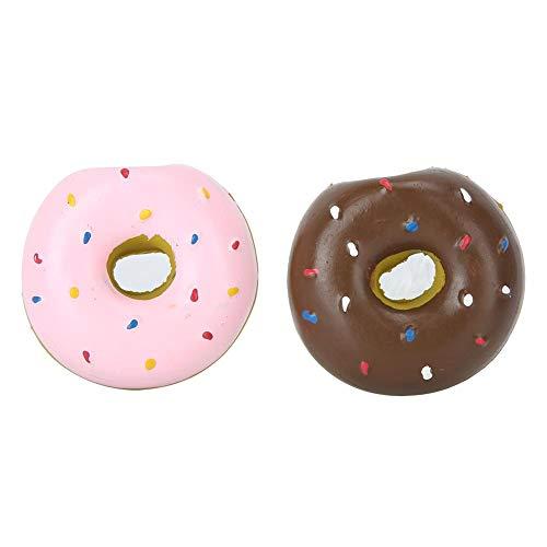 Atyhao 2 Piezas de Juguete para Masticar Donuts para Perros, Látex Pet Donut Shape Sonido Protección de Limpieza de Dientes Masticar Morder Juguete de Entrenamiento Interactivo para Perros