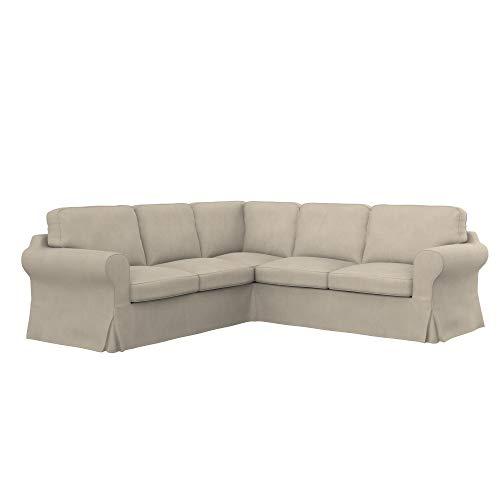Soferia Funda de Repuesto para IKEA EKTORP sofá Esquina 2+2, Tela Majestic Velvet Beige, Beige
