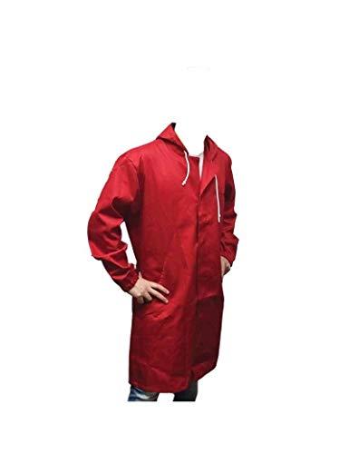 Gialtek Camice da Lavoro con Cappuccio di Colore Rosso (M)
