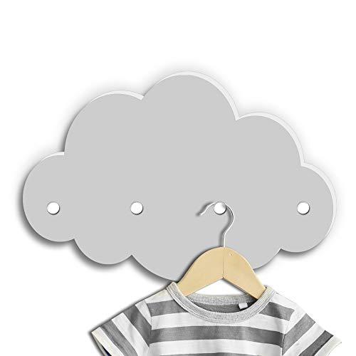 Kindsblick ® Wolkengarderobe in Grau - Garderobe mit 4 Kleiderhaken für Kinder - Wunderschöne Deko für jedes Kinderzimmer - Maße (38 x 25 x 1 cm)