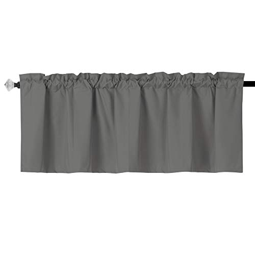 """EasyHome Blackout Valance Curtain for Kitchen ,Bathroom, Living Room, Thermal Insulated ,Room Darkening , Rod Pocket Valance Curtain 1 Panel (54""""x18"""" Grey)"""