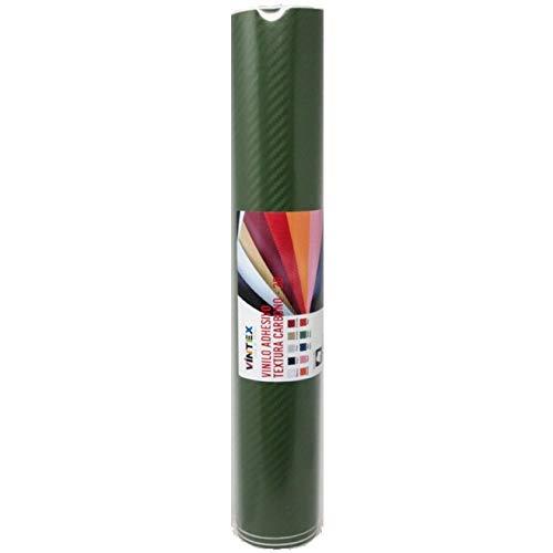 Vinilo fibra de carbono autoadhesivo 3D (Verde Militar)