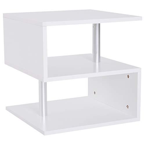 HOMCOM Beistelltisch Couchtisch Wohnzimmertisch Sofatisch S-Form 3 x Fach Spanplatte + Alulegierung Weiß 48 x 48 x 48 cm