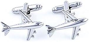 MRCUFF Airplane Plane Commercial Jetliner Jet Aircraft Pilot Pair Cufflinks in a Presentation Gift Box & Polishing Cloth