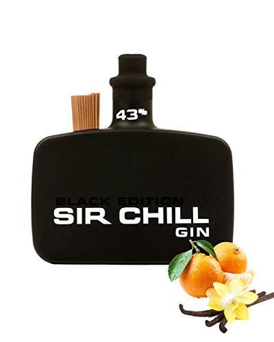 Sir Chill Gin Black Edition, belgischer Premium Dry Gin mit feinem Tabak Aroma, 0,5 l Glasflasche, 43% Alkohol