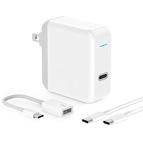USB C Charger for 2018 iPad Pro 12.9 Gen 3, iPad Pro 11, MacBook Pro, MacBook Air, MacBook 12 inch, 45W Thunderbolt 3 Port USB C Power Adapter with USB Type C to USB 3.0 Adapter, 6.6ft USB C-C Cable