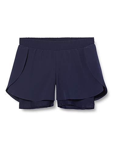 Amazon-Marke: AURIQUE Damen Doppellagige Laufshorts, Blau (Marineblau), 40, Label:L