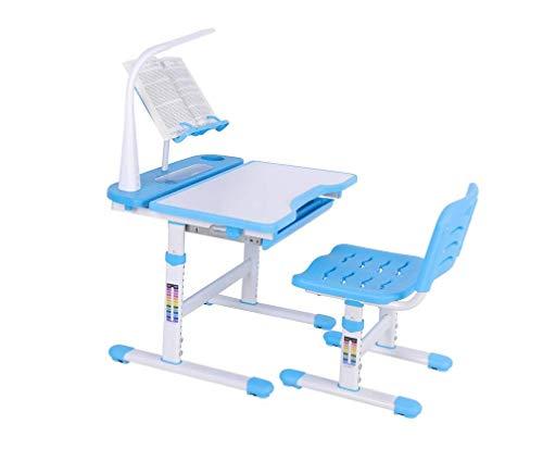 Ajustable altura chlildren niños estudio de la escuela funcional de lujo escritorio y silla cómoda Set, azul mesa para Junior Girls Boys con lámpara y bookstand