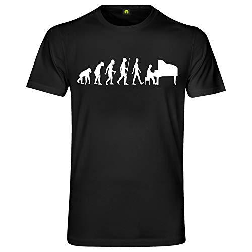 Evolution Klavier T-Shirt | Piano | Flügel Pianino | Auftritt | Band | Spielen Schwarz M