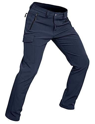 Wespernow Pantaloni Trekking Uomo Impermeabile Pantaloni da Lavoro Outdoor Pantaloni Neve Softshell per Trekking e Sport all'aperto (Blu Navy, S)