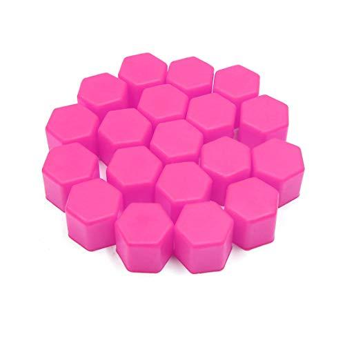 20 tapones de buje protector de goma para neumáticos de coche, 17 mm, color rosa