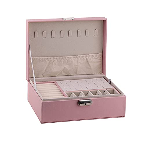 Joyería Caja de Almacenamiento Cajas de joyas de cuero PU de 2 capas Mujeres con bloqueo y bandeja extraíbles Mostrar caja Organizador de la joyería para almacenamiento y collar de exhibición Anillos