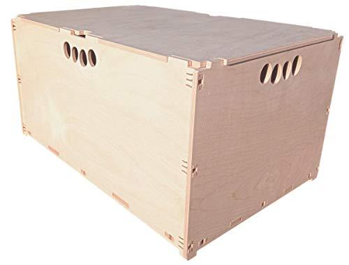 MK Design Hochbelastbar Werkzeugbox aus Holz Holzkiste Naturbelassen 60x40x32cm 63 Liter mit Deckel Aufbewahrungsbox