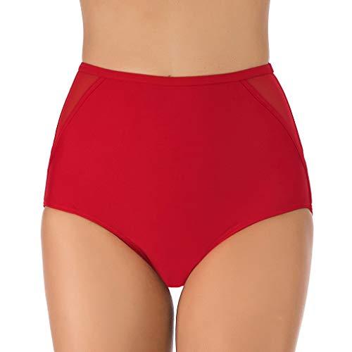 Kaniem Underwear Briefs,Womens Stretch High Waist Briefs Panty,Swimwear Briefs Swim Bottom (S, Red)