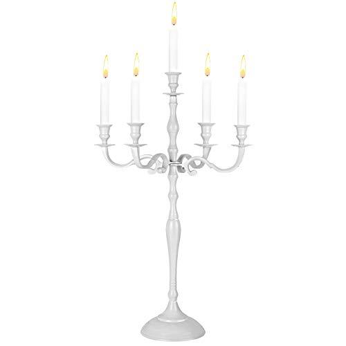 CASARIA Candelabro a 1, 3 o 5 Bracci Candelieri 40 60 80 cm Argento Oro Bianco Lucido Metallo Candeliere Bianco 60cm