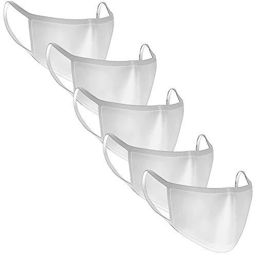 5 maschere di protezione per naso, bianche, lavabili e riutilizzabili, in cotone, per uomo e donna, protezione antipolvere, resistenti alla saliva, da stiro, antipolvere