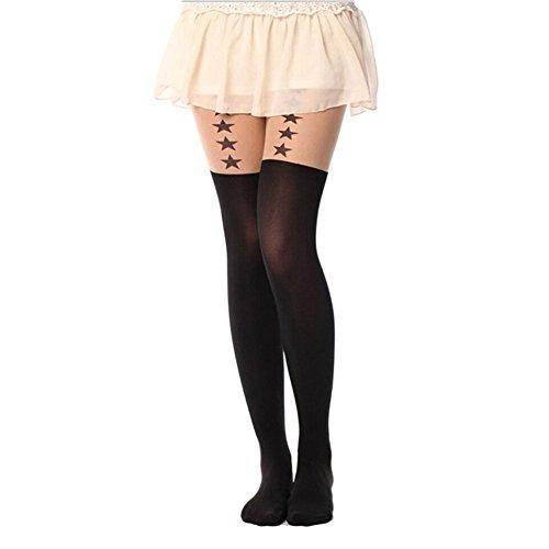 Westeng Mode Frauen Stilvolle gedruckt Tattoo Stars in einer Linie Muster Pantyhose Knie zu Oberschenkel Hohe Strumpfhosen Strümpfe Nylon und Polyester Socke - Schwarz