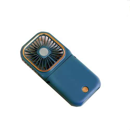 CHENXTT Ventilador Pliegue Multifunción Usb Soporte Para Teléfono Móvil Power Bank Mini Ventilador De Escritorio De Mano Con Cuello Colgante azul 6.5*3.2in
