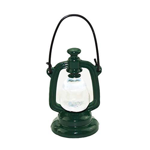 rycnet Mini lámpara retro queroseno modelo de casa de muñecas para niños, accesorios en miniatura, color verde