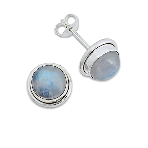 Pendientes de plata 925 con Piedra de luna (No: MOS 43-04)