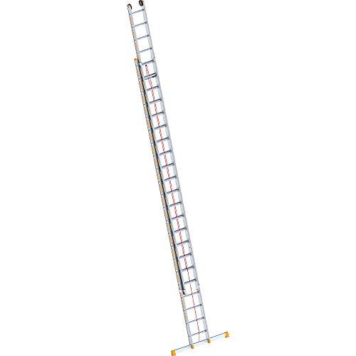 Layher 1037022 Seilzugleiter Topic 22, Aluminiumleiter 2x22 Sprossen, zweiteilig, ausziehbar, Länge 11.30 m