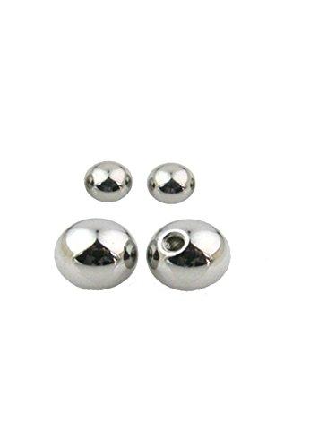 Lot de 4 piercings boule de rechange en acier chirurgical 1,2 x 3 mm pour oreille, lèvre, téton, sourcil, nez, tragus, hélix, intime