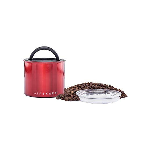 Coffee Storage Canister - Airtight Container Preserves Food Freshness - AirScape Steel- 32 fl. oz - Candy Apple by Planetary Design