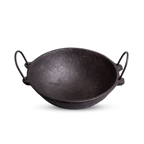 The Indus Valley Cast Iron Cookware (8 Inch Kadai, Pre Seasoned/1.2 L/Small, Perfect for 2 Member Family with Free Ladle, Black)
