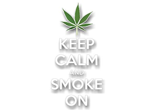 """Keep Calm and Smoke On 8"""" Vinyl Decal Marijuana 420 Pot Leaf Weed Grinder Bong Accessories Carry On Chive On Vinyl Sticker (White)"""