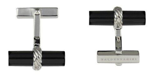 Baldessarini Herren-Manschettenknöpfe 925 Sterlingsilber rhodiniert Onyx schwarz 22 mm