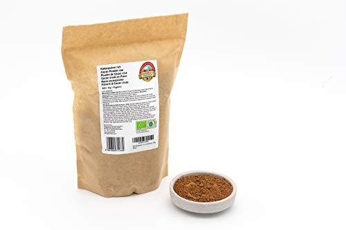 Cacao en polvo orgánico - 1 kg - Cacao crudo criollo de la selva muy finamente pulverizado - Ligeramente desengrasado - Alimentos crudos