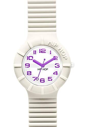 Hip Hop Orologio Solo Tempo Numbers Glitter per Donna Completamente Bianco con Numeri Viola Glitter con Cinturino in Silicone Morbido Resistente all'Acqua HWU0525