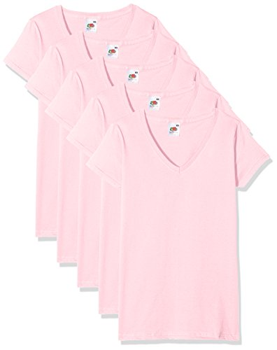 Fruit of the Loom Valueweight Camiseta, Rosa (Light Pink), XS (Pack de 5) para Mujer