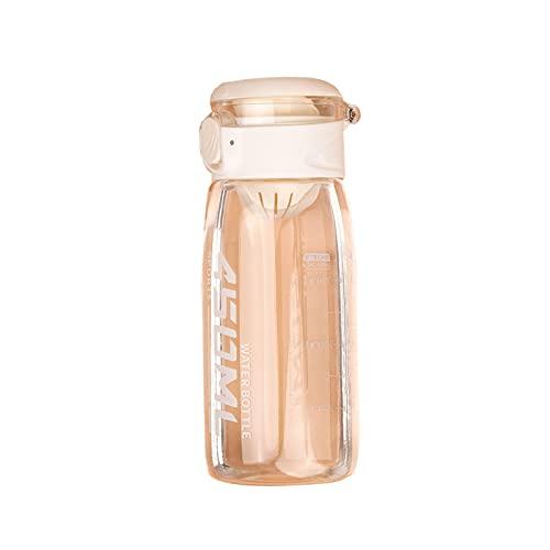 A Prueba De Fugas Botella De Agua Deportiva,Plástico Reutilizable Botella De Agua,Una Clave-Off,Transparente Protable Taza para Correr,Gimnasio,Yoga,Exterior,Camping Y Fitness,450m-D 450ml