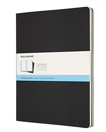 Moleskine Cahier Soft Cover Journal, Set of 3, Dotted, XXL (8.5' x 11') Black - for Use as Journal, Sketchbook, Composition Notebook