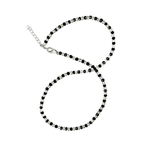 Chili Jewels - Collar con botones facetados, color negro con cristal de roca, 4 mm/45 cm