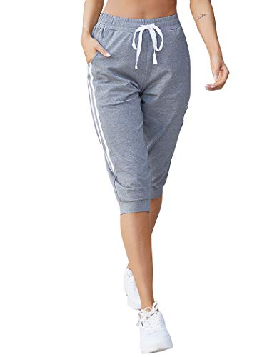 COOrun Women's Capri Sweatpants for Women Workout Cropped Joggers Athletic Lounge Pants with Pockets Gray