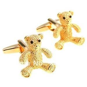 Global Accessorie Mode Or Boutons de Manchette nouveauté gravé d'ours Litte dans Une boîte Cadeau