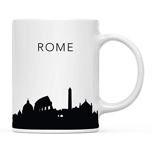 Coffee Mug, 11 oz Tourist Travel Souvenir Coffee Mug Gift, Rome Italy Skyline, Christmas Birthday Moving Away Study Abroad Graduation Bon Voyage, Includes Gift Box Gifts for Women Men