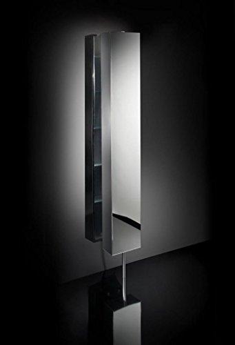Ondyna Cristina - Colonne de Salle de Bain - Armoire INOX tournante 6 étagères avec Miroir