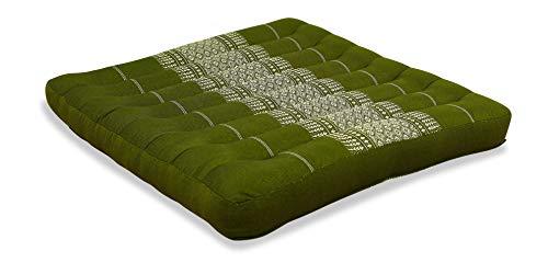livasia Kapok Sitzkissen 50x50x6,5cm der Marke Asia Wohnstudio, optimal als Stuhlauflage oder Meditationskissen, Bodenkissen BZW. Stuhlkissen (grün)