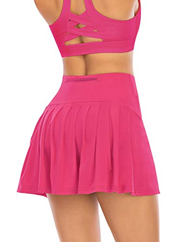 Pleated Tennis Skirts for Women with Pockets Shorts Athletic Golf Skorts Activewear Running Workout Sports Skirt (Rose Pink, Medium)