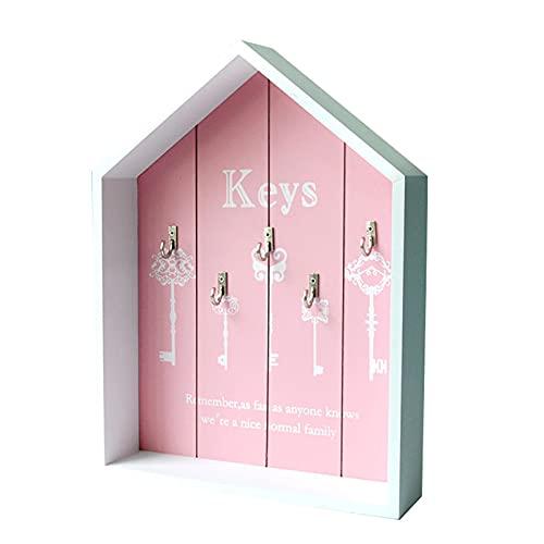 QKFON Gabinete para llaves, organizador de madera montado en la pared con 5 llaves, caja de almacenamiento decorativa de la forma de la casa rural