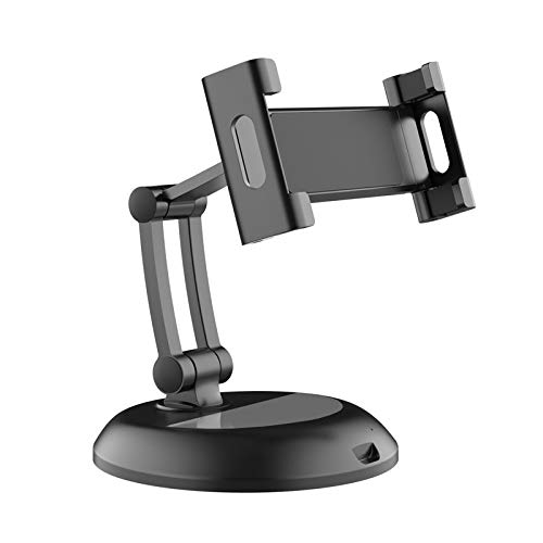 APROTII Adjustable Tablet Stand,Foldable Tablet Stand with 360° Swivel Phone Clamp Mount Holder, Compatible with 5-12.9 inches Phone & Tablets
