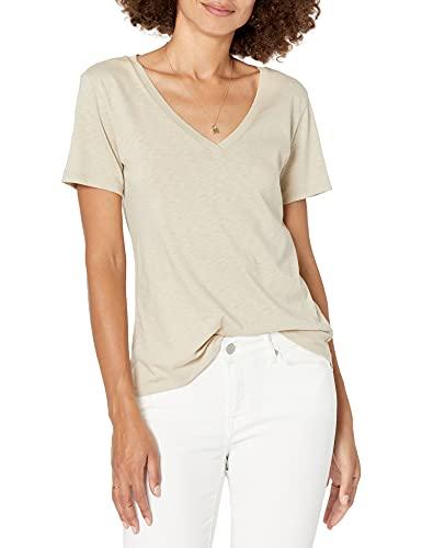 Marca Amazon - Lindsey Camiseta de manga corta de corte holgado con cuello de pico por The Drop