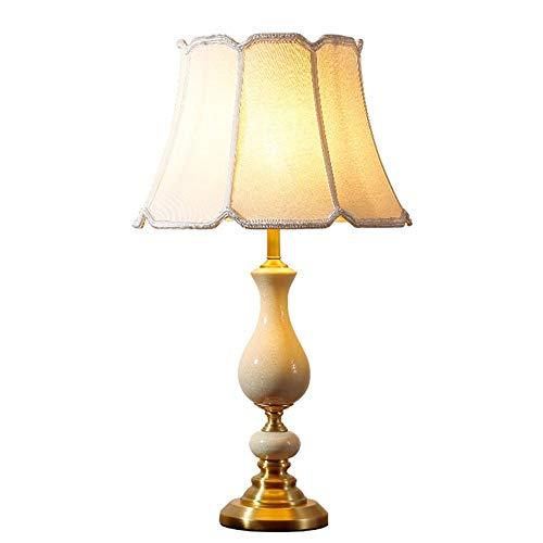 Lámpara Escritorio Lámpara moderna minimalista blanco material translúcido de lino de lino de lino de porcelana Material de cobre de la cama Lámparas de mesas de noche Iluminación de lámparas Lámparas