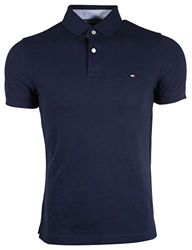 Tommy Hilfiger Mens Stretch Slim Fit Mesh Polo Shirt (Small, Navy)