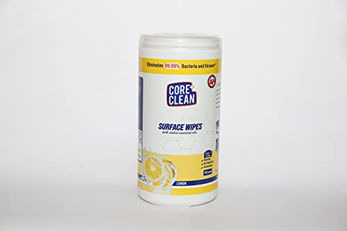CORE CLEAN Disinfecting Wipes – Canister- 100 Pulls Each Box (Pack of 1) LEMON